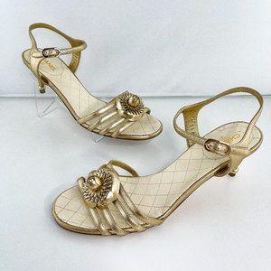Chanel Interlocking CC Leather Camellia Sandals